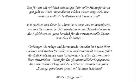 Weihnachtsbrief der Lebenshilfe Auerbach